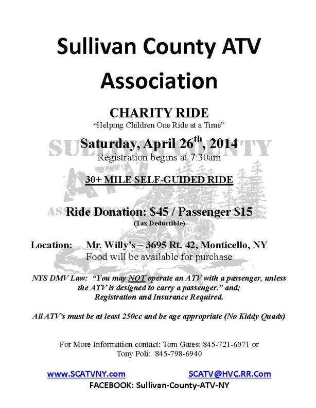 SCATV Spring Charity Ride 04 26 14